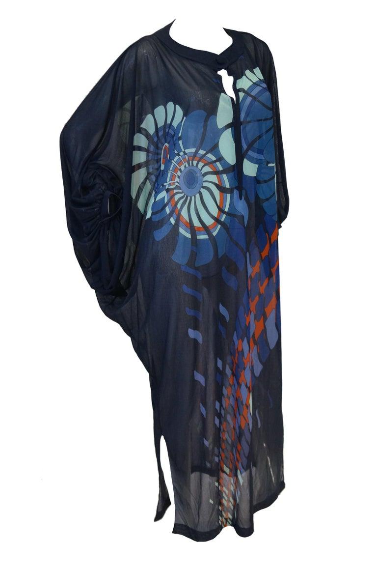 Women's Vintage Sheer Black Batwing Caftan with Blue Op Art Floral Print For Sale