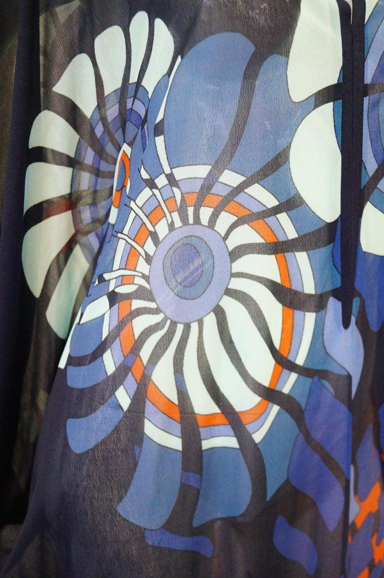 Vintage Sheer Black Batwing Caftan with Blue Op Art Floral Print For Sale 2