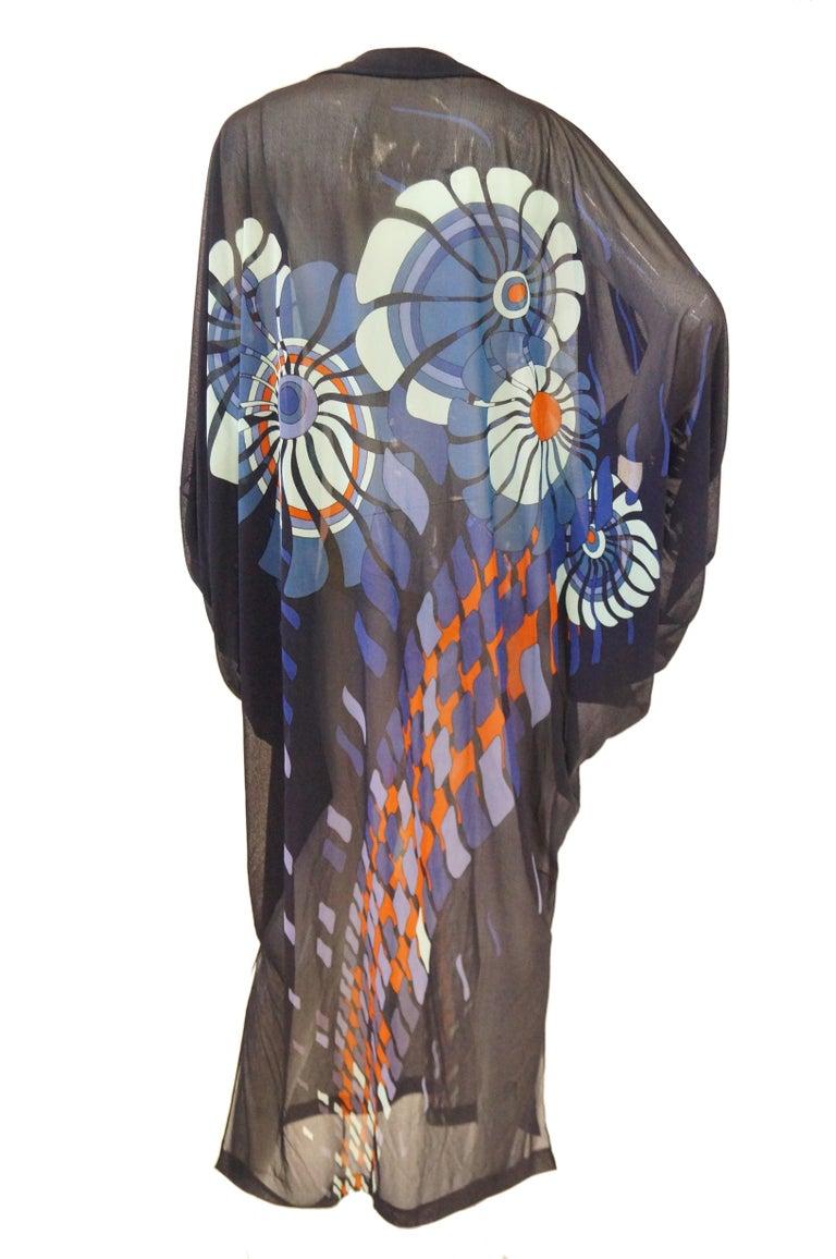 Vintage Sheer Black Batwing Caftan with Blue Op Art Floral Print For Sale 3