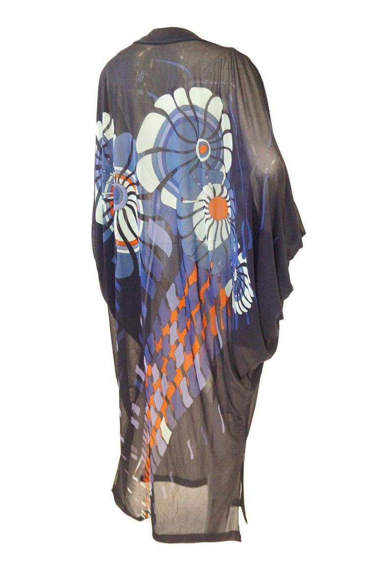 Vintage Sheer Black Batwing Caftan with Blue Op Art Floral Print For Sale 4