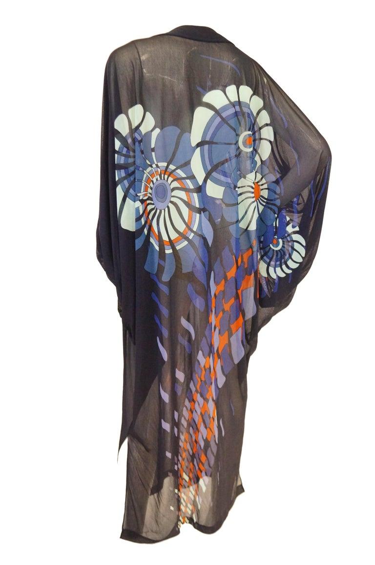 Vintage Sheer Black Batwing Caftan with Blue Op Art Floral Print For Sale 5