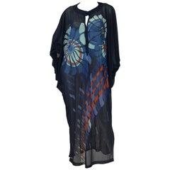 Vintage Sheer Black Batwing Caftan with Blue Op Art Floral Print