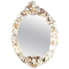 Vintage Shell Encrusted Mirror, 1950s