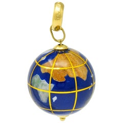Vintage Shell Inlay Italian 14 Karat Gold Articulated Globe Pendant Charm