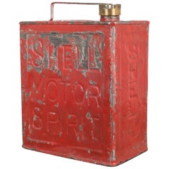 Vintage Shell Motor Spirit Gas Can with Brass Screwtop circa 1930