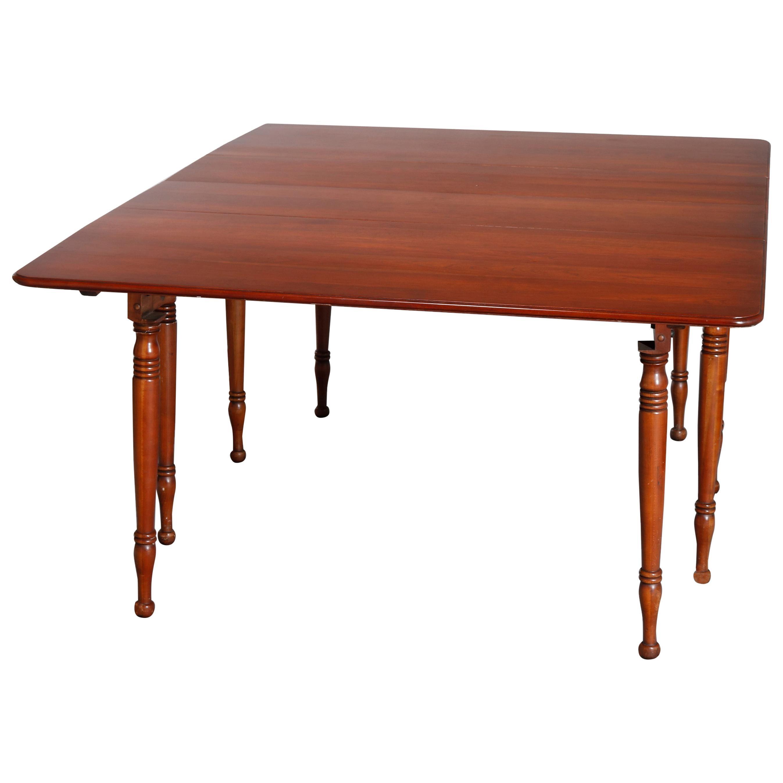 Vintage Sheraton Pennsylvania House Cherry Drop-Leaf Extension Dining Table