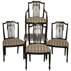 Vintage Sheraton Style Painted Dining Chairs, Set of Four