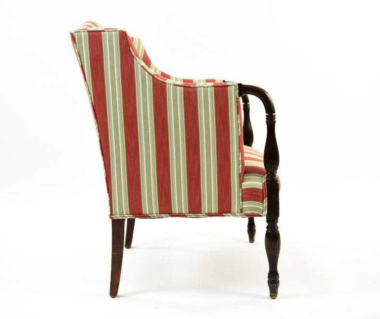 American Vintage Sheraton-Style Upholstered Armchair For Sale