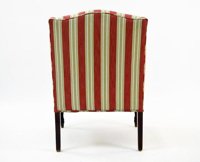 Machine-Made Vintage Sheraton-Style Upholstered Armchair For Sale