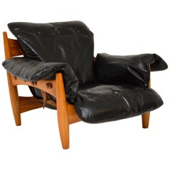 "Vintage ""Sheriff"" Leather Armchair by Sergio Rodrigues for ISA"