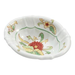 Vintage Sherle Wagner Hand Painted Scalloped Ceramic Soap Dish Mums Bouquet