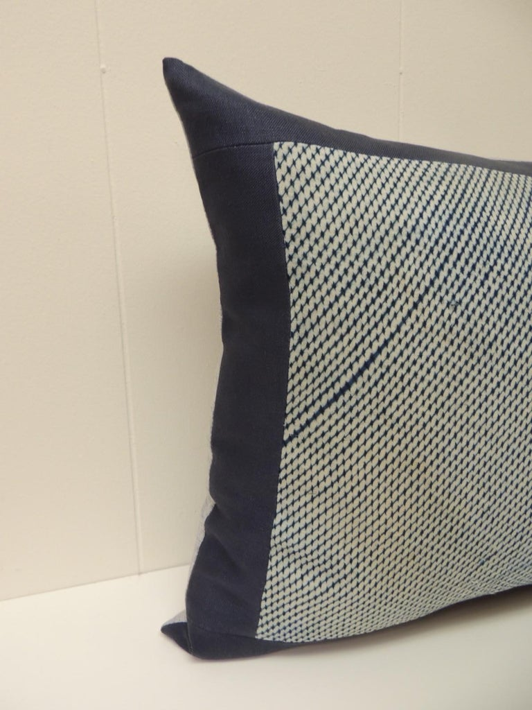 Vintage Shibori Asian blue and white decorative bolster pillow, framed with navy blue linen and gray texture linen backing. Decorative pillow handcrafted and designed in the USA. Closure by stitch (no zipper closure) with custom made pillow