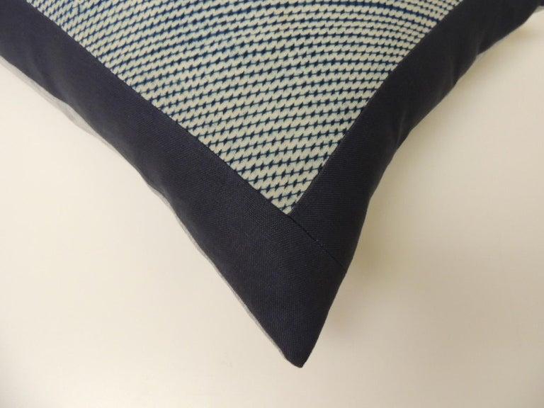 Japonisme Vintage Shibori Asian Blue and White Decorative Bolster Pillow For Sale