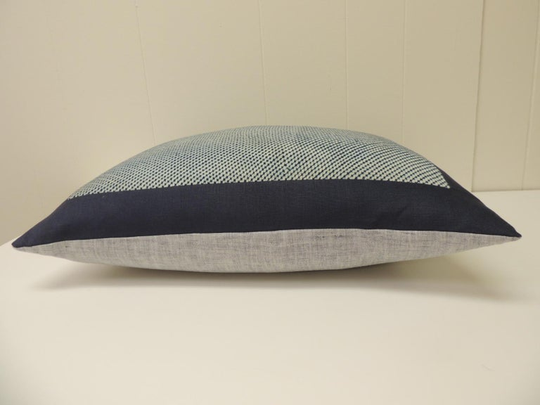Japanese Vintage Shibori Asian Blue and White Decorative Bolster Pillow For Sale