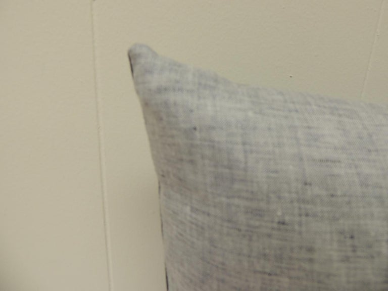 Hand-Crafted Vintage Shibori Asian Blue and White Decorative Bolster Pillow For Sale