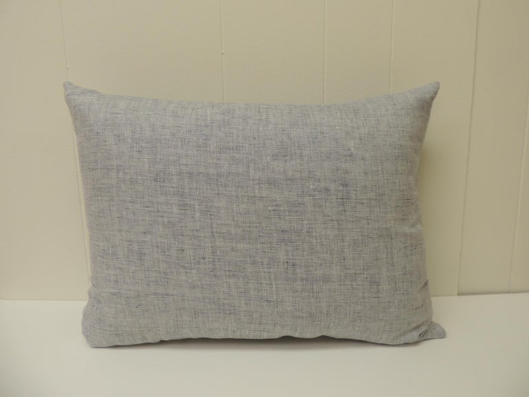 Vintage Shibori Asian Blue and White Decorative Bolster Pillow In Good Condition For Sale In Wilton Manors, FL