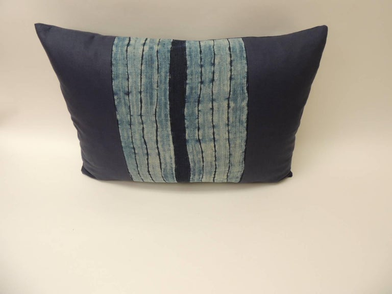 Vintage Shibori Stripe Blue Asian Decorative bolster Pillow Bolster Indigo stripe homespun hemp textile with dark blue linen backing. Vertical stripes to create this unique pattern. Decorative bolster handcrafted and designed in the U.S. Throw