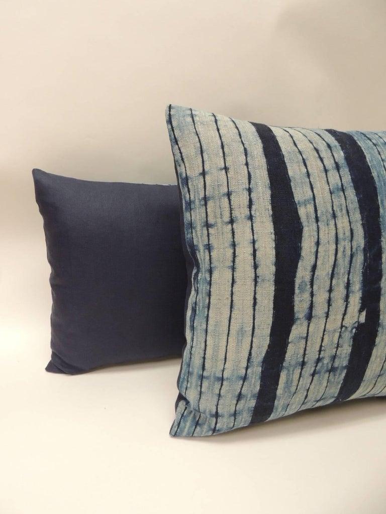 Tribal Vintage Shibori Stripe Blue Asian Decorative Bolster Pillow For Sale