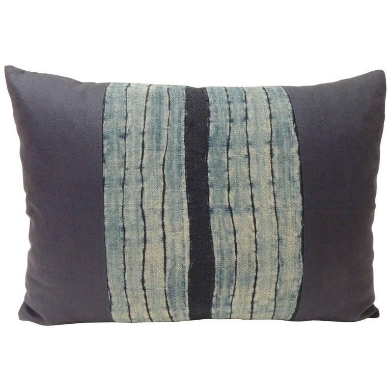 Vintage Shibori Stripe Blue Asian Decorative Bolster Pillow For Sale