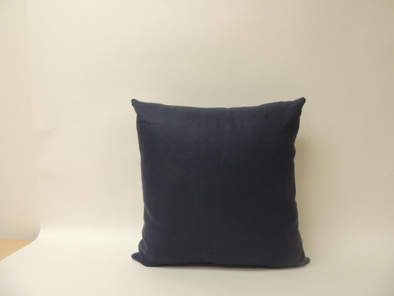 Hand-Crafted Vintage Shibori Stripe Blue Asian Square Decorative Pillow For Sale