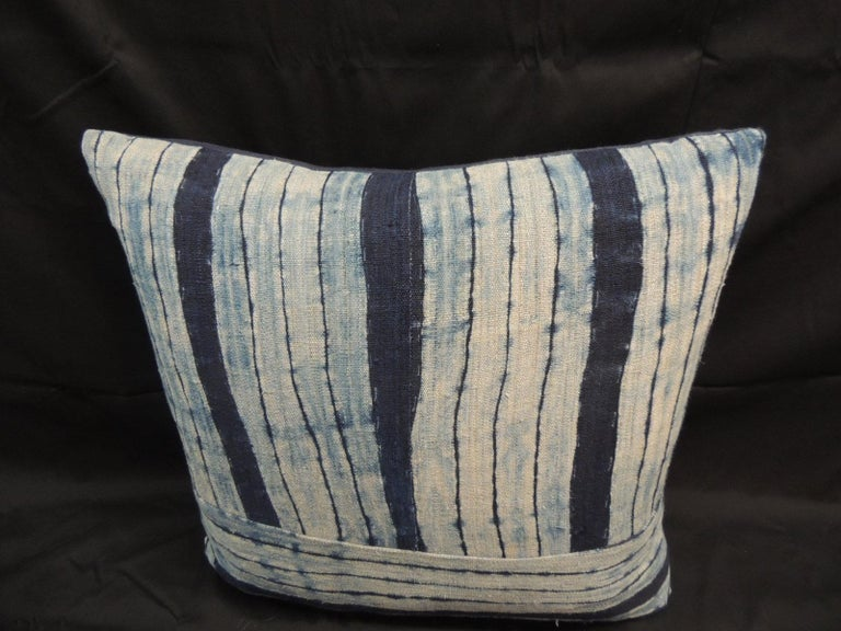 Tribal Vintage Shibori Stripes Blue Asian Decorative Pillow For Sale