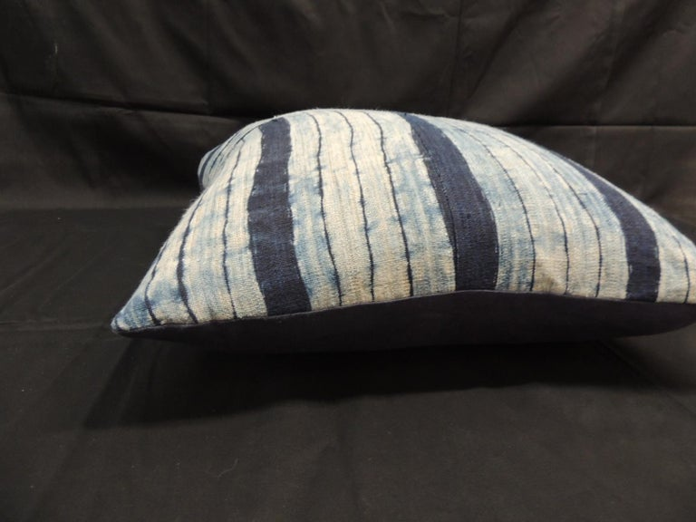 Hand-Crafted Vintage Shibori Stripes Blue Asian Decorative Pillow For Sale