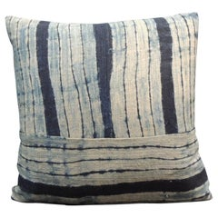 Vintage Shibori Stripes Blue Asian Decorative Pillow