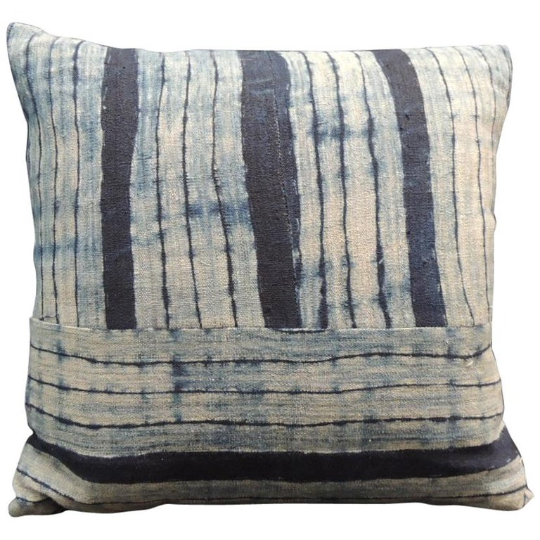 Vintage Shibori Stripes Blue Asian Decorative Pillow For Sale