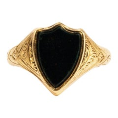 Vintage Shield Bloodstone and 9 Carat Gold Signet Ring