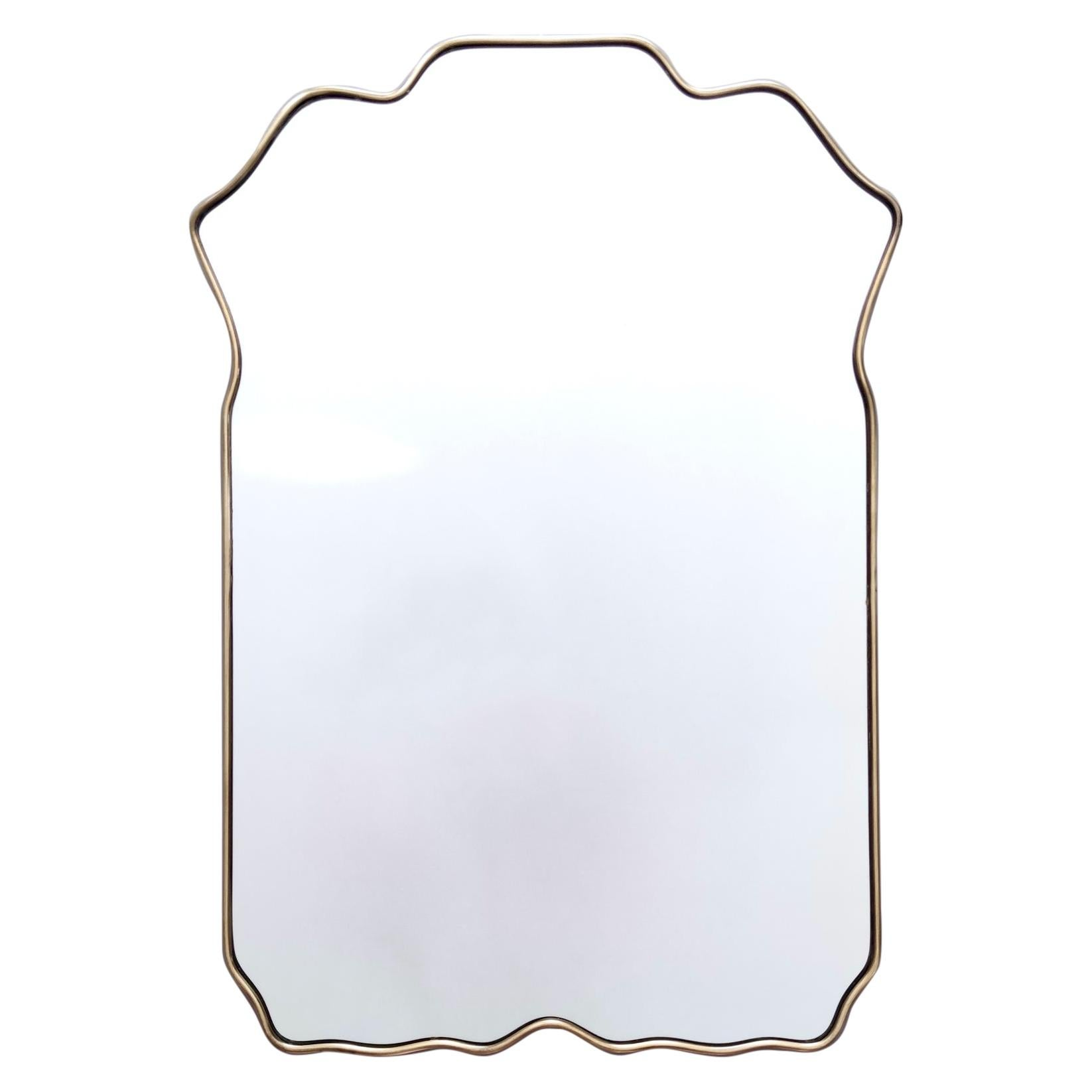 Vintage Shield Shaped Wall Mirror with Brass Frame, Italy