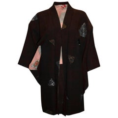 Vintage Short Kimono with Fan Decoration