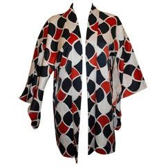 Vintage Short Kimono with rust ,white and black geometric print