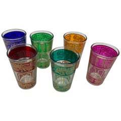Vintage Shot Glasses with Gold Raised Moorish Design