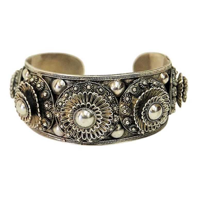 Vintage Siam Silver Decor Cuff Bracelet, 1940s