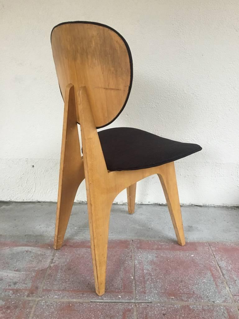 Mid Century Modern Vintage Side Chair By Japanese Architect Junzo Sakakura  For Tendo Mokko For