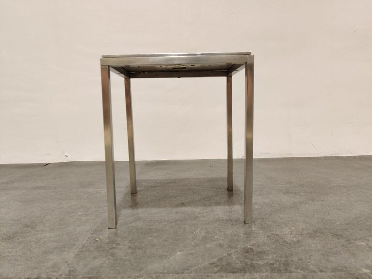 Midcentury side table by Willy Luyckx for Aluclair.  Hand forged table top.  Labeled underneath.  Cool decorative side table.  1970s - Belgium  Good condition  Measures: Height 35cm/13.77