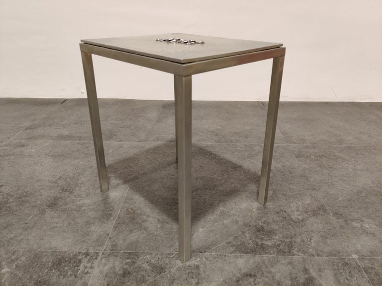 Brutalist Vintage Side Table by Willy Luyckx for Aluclair, 1970s For Sale