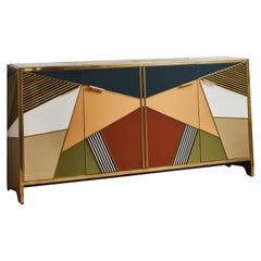 Vintage Sideboard in Mirror, Italy, 1970