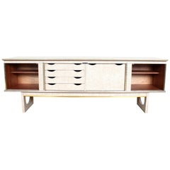 Vintage Sideboard Long John Low Cocktail Credenza Bleached Walnut