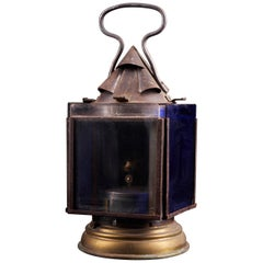Vintage Signal Oil Lantern with 4 Colored Glass Panels