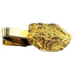 Vintage Signed 10 Karat Gold Nugget Solid Tie Clip