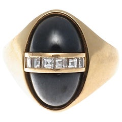 Vintage Signed Bulgari 1960s Hematite Diamond Gold Ring