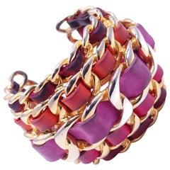 Vintage Signed Chanel 26 France Runway Lambskin Leather Cuff Bracelet