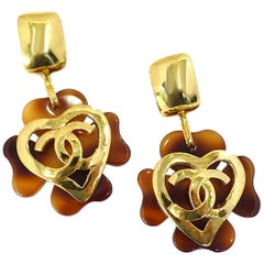 Vintage Signed Chanel 95P Faux Tortoise Shell Heart Clover Earrings
