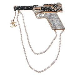 Vintage Signed Chanel Runway Pistol Brooch 2001 Autumn