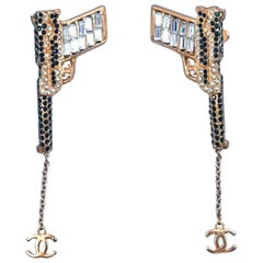 Vintage Signed Chanel Runway Pistol Long Dangling Earrings
