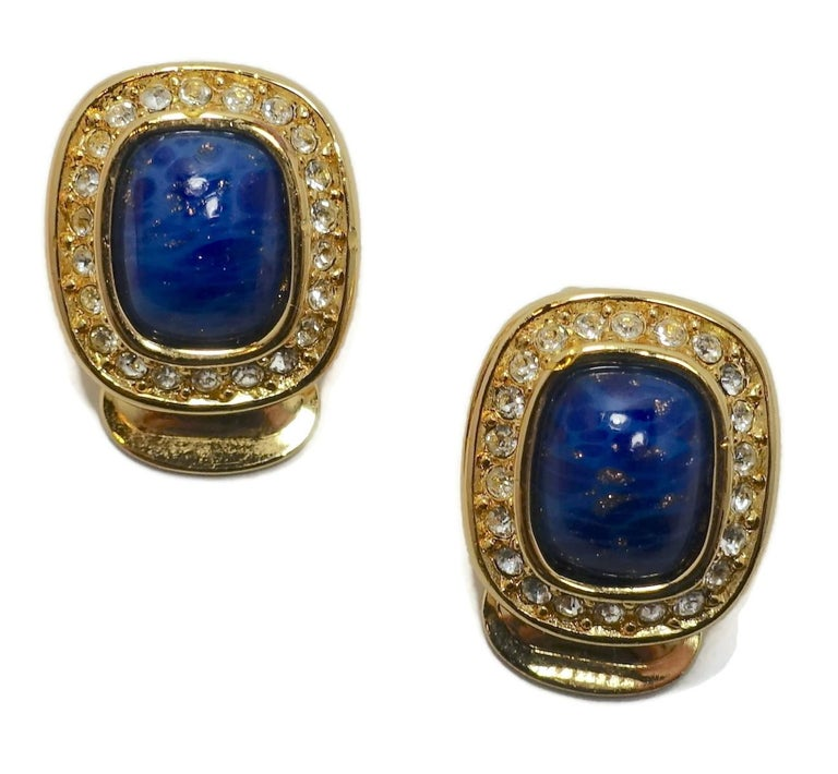 Vintage Signed Christian Dior Faux Lapis & Crystal Earrings In Good Condition For Sale In New York, NY