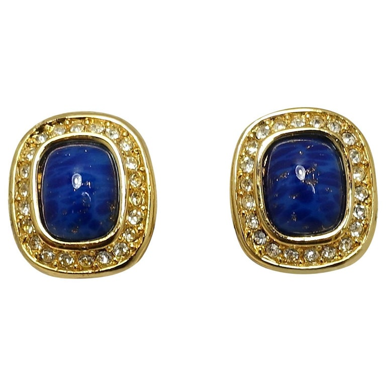 Vintage Signed Christian Dior Faux Lapis & Crystal Earrings For Sale