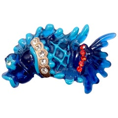Vintage Signed Christian LaCroix Carved Resin Jeweled Fish Brooch