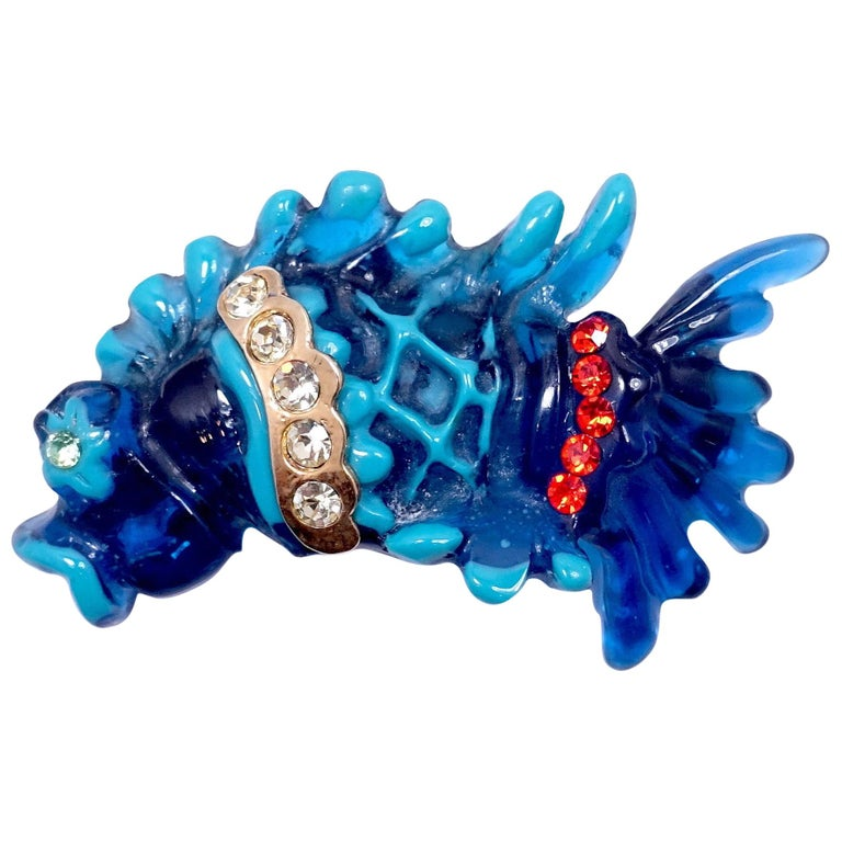 Vintage Signed Christian LaCroix Carved Resin Jeweled Fish Brooch For Sale